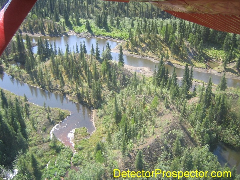 Aerial view of tailing piles and ponds at Moore Creek, Alaska
