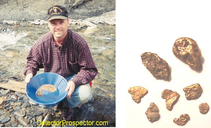 Steve with gold found running sluice box, and some detected nuggets (largest 8 dwt)
