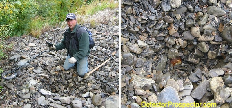 Jeff excavating large gold nugget that turned out to be a rusty can