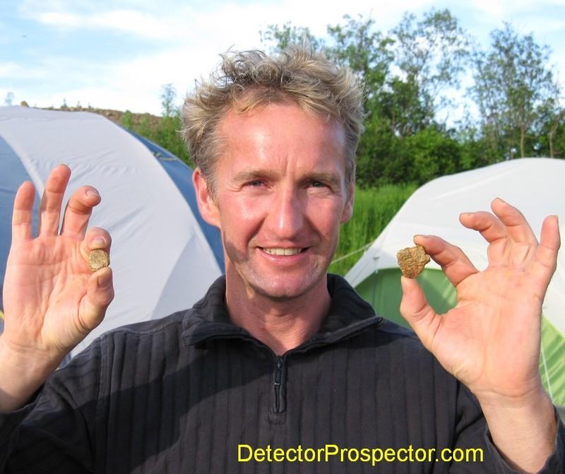 Jens with 0.37 oz and 0.62 oz gold specimens found with White's TDI
